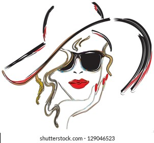 woman with red lips and red nails wearing a hat and sun glasses.  illustration, digital art.