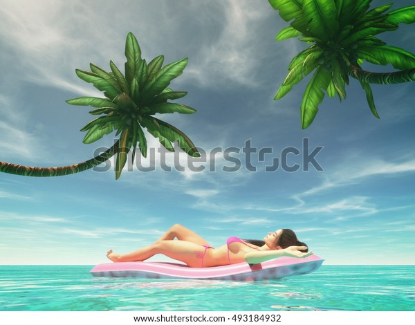 Woman relaxing on pink water mattress in the ocean - island tropical. This is a 3d render illustration