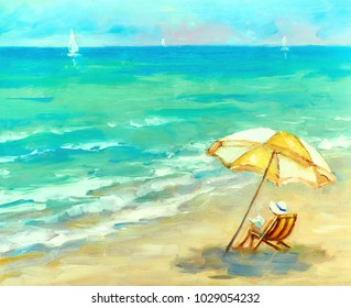 woman is resting on the beach under an umbrella on the background of the ocean. oil painting landscape