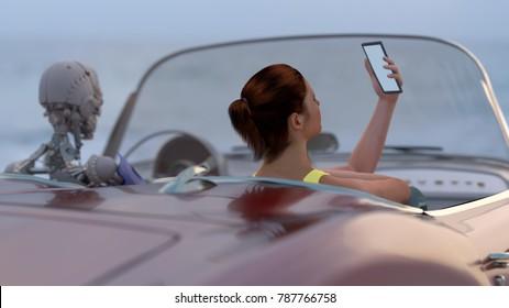 woman and robot drive a car, 3d illustration