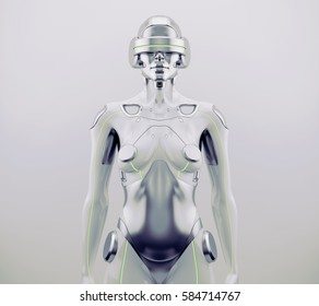 Woman robot. Futuristic silver robotic woman in front 3d rendering