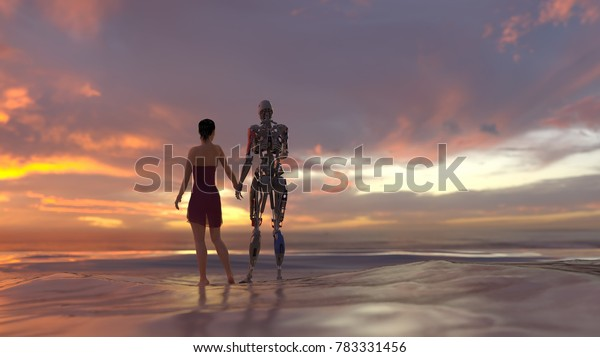 woman and robot on summer beach, 3d illustration
