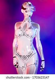 Woman robot virtual reality glasses.White metal droid.Neural networks.Artificial Intelligence.Conceptual fashion art.3D render.Colorful smoke background.Sci-fi.Future is today