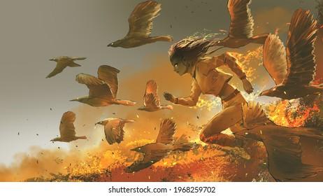 Frau, die unter den Feuervögeln herumläuft, digitale Kunststil, Illustrationsmalerei