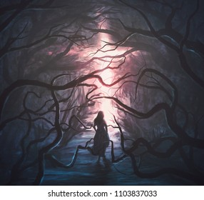 A woman runs through a scary forest towards a glowing cross. Digital illustration