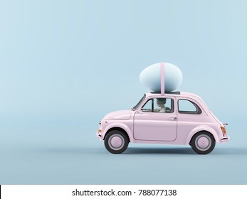 woman rush in a car with easter egg on roof. 3d rendering