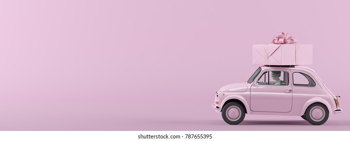woman rush in a car with gift box on roof. 3d rendering