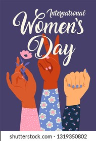 Woman s hand with her fist raised up. Girl Power. Feminism concept. Realistic style illustration in pink pastel goth colors.