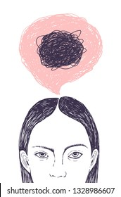 Woman s head, thought bubble and scribbles inside it hand drawn with contour lines on white background. Concept of inner confusion, difficulty, mess, chaos, chaotic mind.