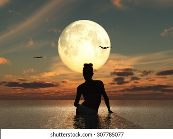 Woman in the sea watching the full moon