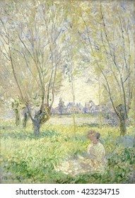 Woman Seated under the Willows, by Claude Monet, 1880, French impressionist painting, oil on canvas. The figure emerges from the brushstrokes, distinguished by her color in the sunlight, but painted