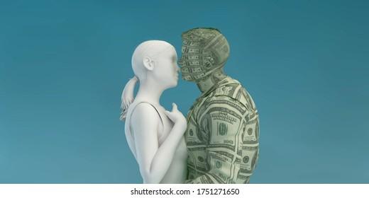 Woman Seducing Rich Man as a Concept 3d Render