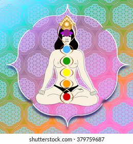 a woman with seven chakras sitting - background with flower of live symbol