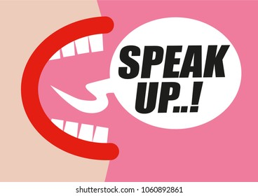 Woman shouting SPEAK UP in word bubble - protesting for rights of women, equality and inappropriate sexual behavior towards women - hand drawn illustration in pink and red