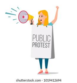 Woman Shouting Through Megaphone. Public Female Protest. Public Speaker. Social Activist. Loud Announcement. Communicate Concept. Isolated Flat Cartoon Illustration