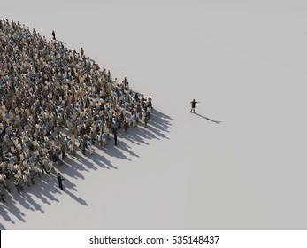kvinna visar riktningen av publiken, 3d illustration