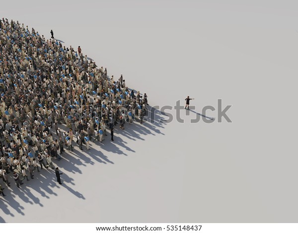 woman shows the direction of the crowd, 3d  illustration