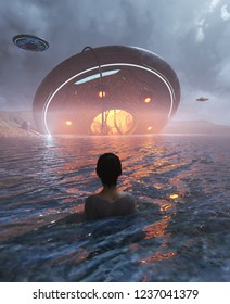 Woman sighting a UFO crashing in the sea,3d illustration