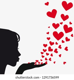Woman silhouette hand. Pretty girl blowing heart. Drawing background  illustration  raster version