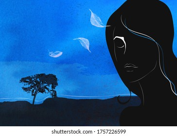 Woman silhouette on surrealistic blue landscape. Melancholie reference.  Memories concept. Digital Illustration for stories and book covers.