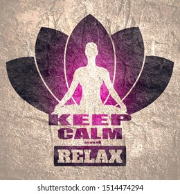 Woman sit in meditation pose. Cutout silhouette. Lotus flower yoga center emblem. Keep calm and have a spa day text