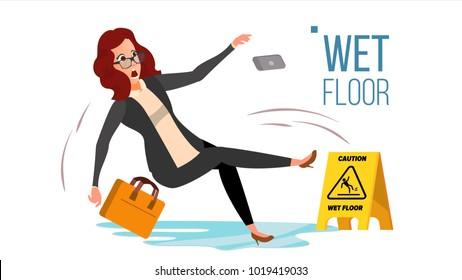 Woman Slips On Wet Floor. Caution Sign. Isolated Flat Cartoon Character Illustration