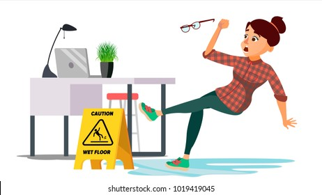 Woman Slips On Wet Floor. Modern Business Woman In Office. Danger Situation. In Action. Clean Wet Floor. Isolated Flat Cartoon Character Illustration