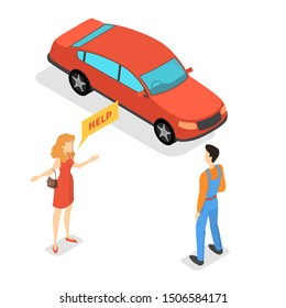 Woman standing at the broken car and ask for help to the mechanic. Automobile repair service. Smoke from the auto. Flat  illustration