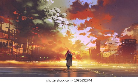 woman standing on the sea looking at the burning city, digital art style, illustration painting