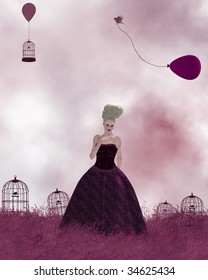 Woman standing in a pink field of grass with birdcages and balloons