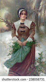 Woman standing in snow, holding holly in her apron, 'A Fair Puritan', by E. Percy Moran, 1897.