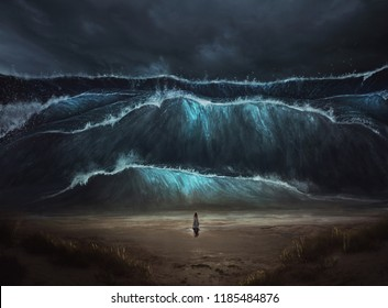 A woman stands alone before a large tidal wave coming on to the beach. Digital 3D illustration