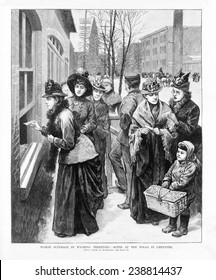 Woman suffrage in Wyoming Territory- women voting at the polls in Cheyenne, Wyoming. Nov 24, 1888