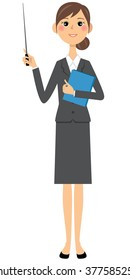 Woman in suits,Pointing stick