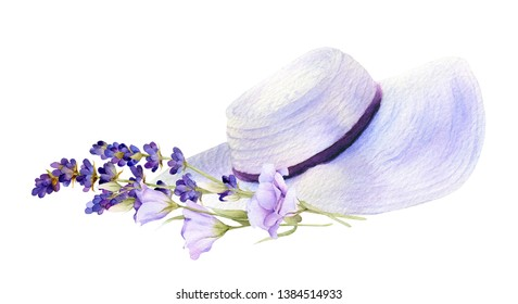 Woman summer hat and bouquet of lavender and eustoma hand drawn in watercolor isolated on a white background. Floral watercolor illustration. Ideal for creating invitations, greeting cards.