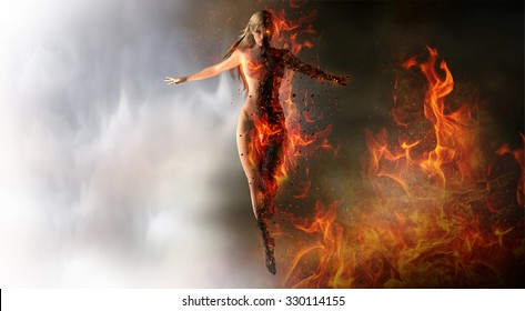 Woman summoning fire