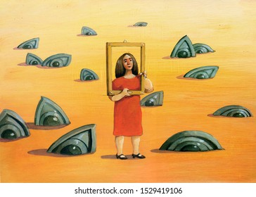 woman surrounded by stone eyes surreal painting psychological theme