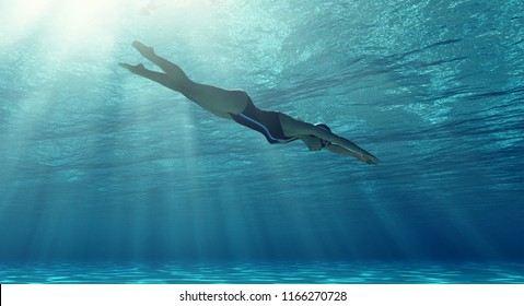 Woman swimming underwater in a sea. This is a 3d render illustration