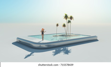 Woman in swimsuit and 3d tropical image coming out of a touch screen.  This is a 3d render illustration