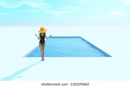 Woman in swimsuit and hat near pool. This is a 3d render illustration