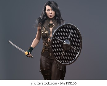 woman with sword and shields - 3d rendering