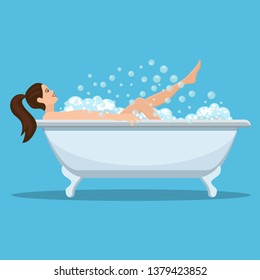 Woman taking a bath. Relaxing girl in bathroom. illustration in flat style Raster version.