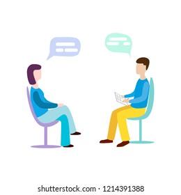 Woman talking to psychotherapist or psychologist and answer questions. Psychotherapy. Psychologist. Raster version.