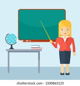 woman teacher at the blackboard. Teacher classroom. Education concept. Flat cartoon illustration. Objects isolated on a white background.