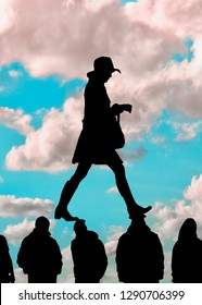 Woman trampling men heads graphic silhouette radical feminism concept illustration