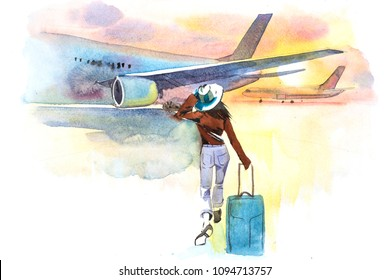 Woman traveler boarding airplane, rear view. Departure. Girl at an airport about to board an aircraft.