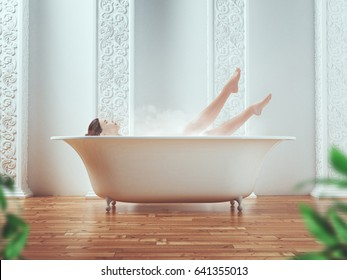 Woman in tub, bathe, 3d render