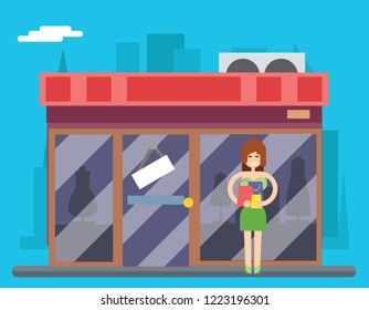 Woman Turns out Overstock Store Characters Icon Symbol Stylish Isolated cartoon Design Concept Template  Illustration