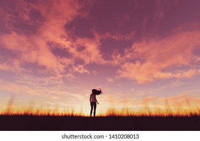 Woman walking alone at sunset,3d rendering