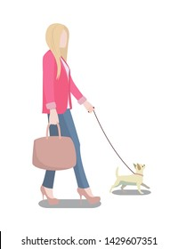 Woman walking her dog poster with blonde and on leash lady wearing pink jacket handbag in hands isolated raster illustration